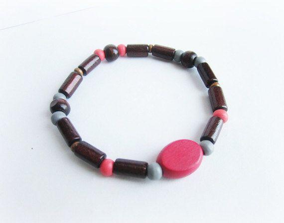 Mens wood beaded bracelet elastic men bracelet by Bravemenjewelry