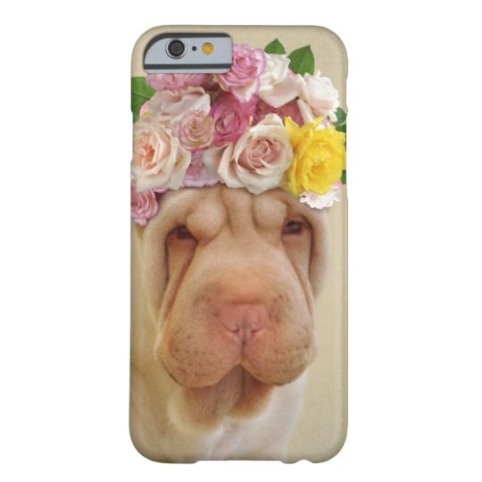 Funny dog with flowers barely there iPhone 6 case