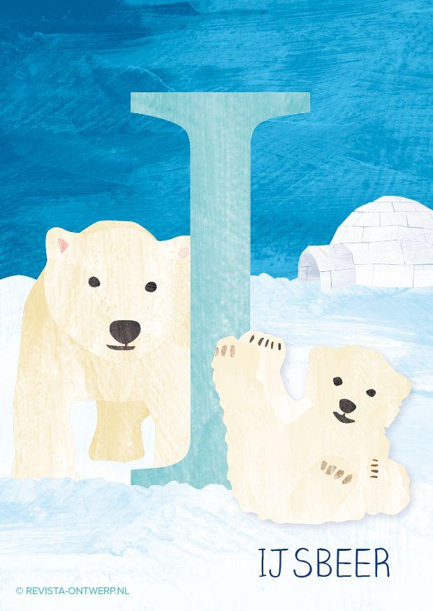 De I is van ijsbeer. Elke week een illustratie van een letter uit het alfabet. revista-ontwerp.nl