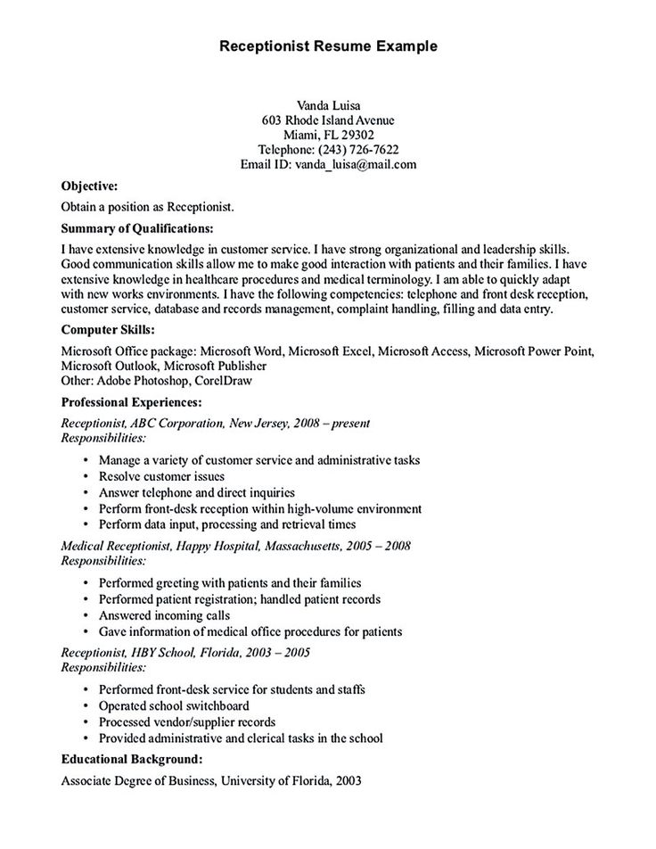 The 25+ best Receptionist jobs ideas on Pinterest Receptionist - sample resume receptionist