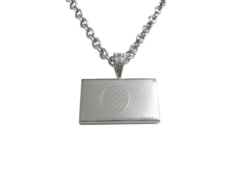 Silver Toned Etched Bangladesh Flag Pendant Necklace