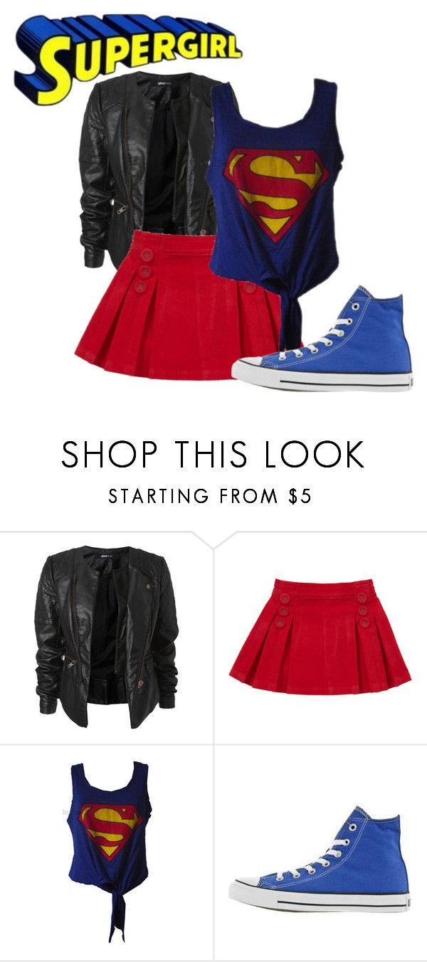 Supergirl Costume by fashionista-chick-x on Polyvore featuring Retrò and Converse