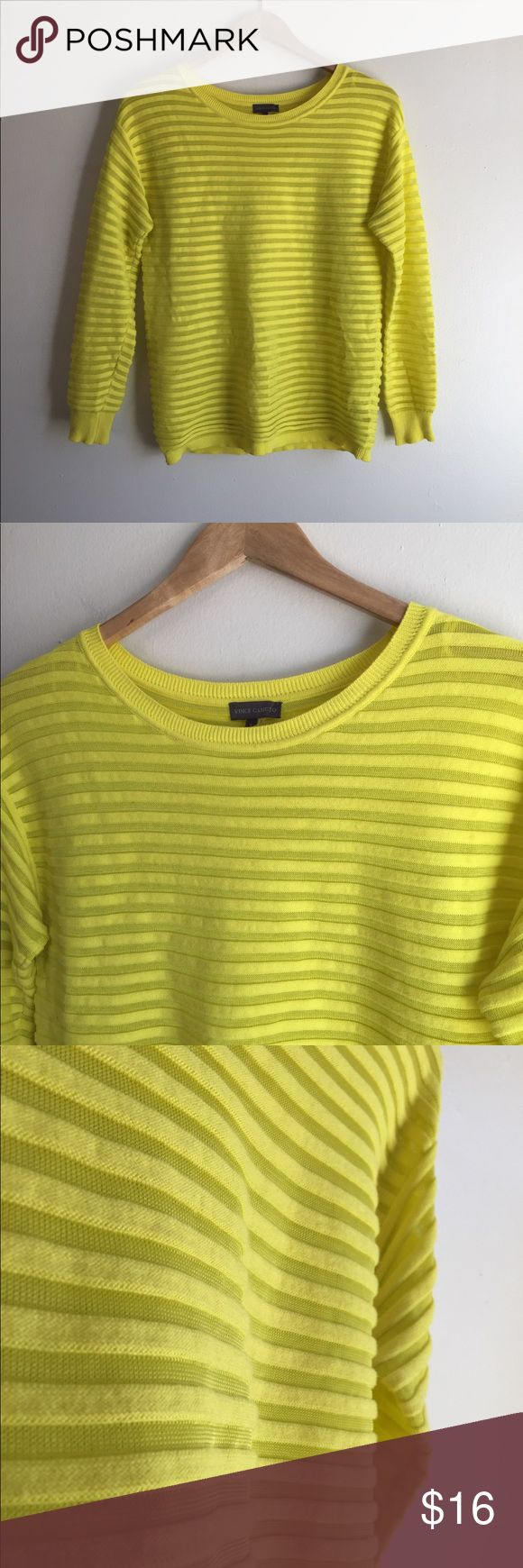 Vince Camuto ribbed Sweater Bright yellow almost neon color sweater with horizontal ribbed fabric. Made with 100% cotton. Perfect condition Vince Camuto Sweaters Crew & Scoop Necks