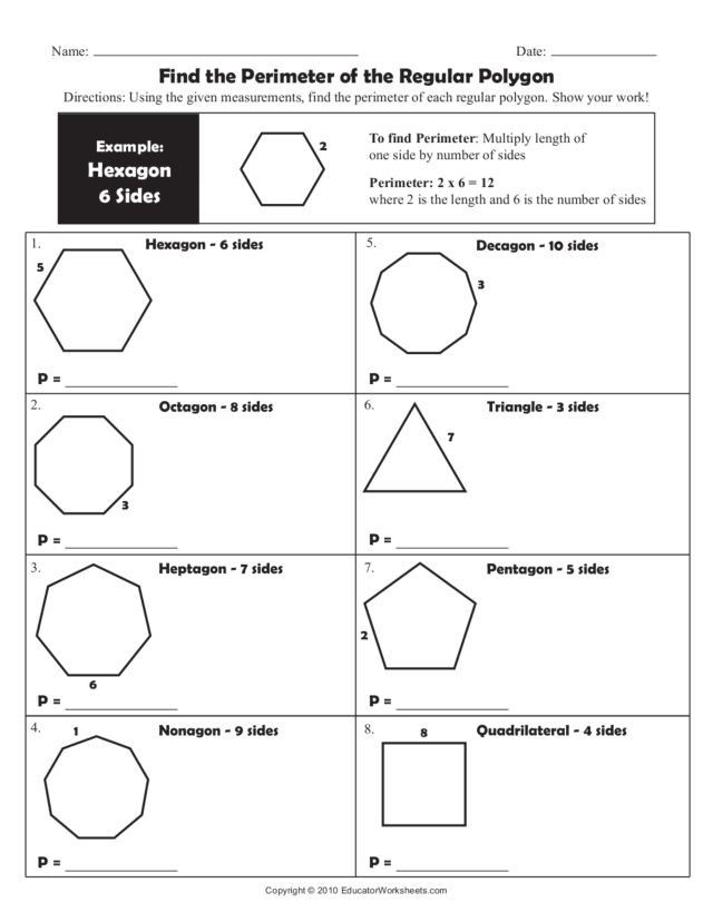 Polygon Worksheets 4th Grade Find The Perimeter Of The Regular Polygon Worksheet For 4th Geometry Worksheets Regular Polygon Math Practice Worksheets Angles of polygons practice worksheet