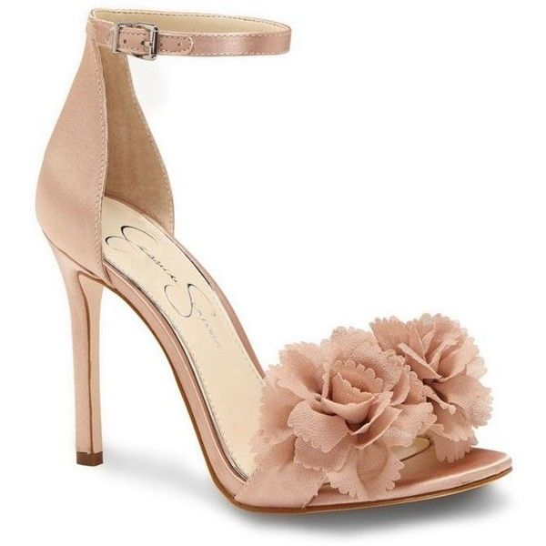 Jessica Simpson  2 Piece High Heel With Bow ($98) ❤ liked on Polyvore featuring shoes, pumps, light pink, high heel shoes, bow shoes, jessica simpson pumps, jessica simpson footwear and open toe high heel shoes