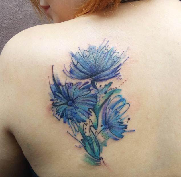 Blue Watercolor Flower Tattoo by Lenara