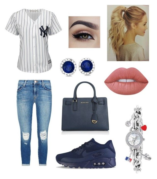 """""""Yankees Outfit Baseball"""" by fat2fit394 on Polyvore featuring Majestic, J Brand, NIKE, Michael Kors, Game Time, Allurez and Lime Crime"""