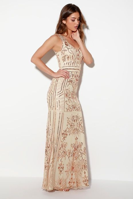 38e579cce2f Dramatic Entrance Rose Gold Sequin Maxi Dress