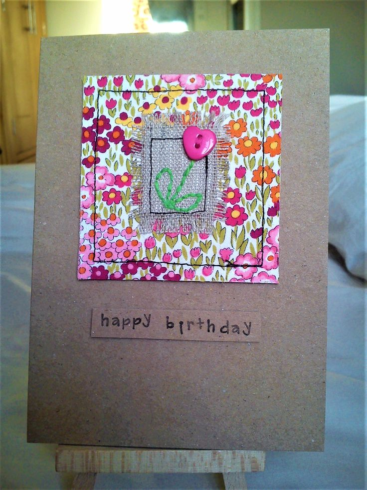 Handmade sewn card made with Moda fabric, linen and a heart button