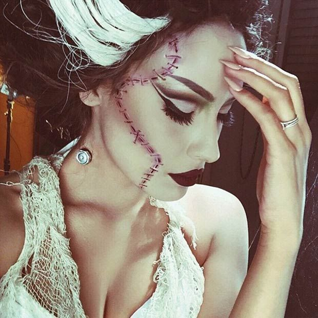 Bride of Frankenstein Halloween Makeup Look