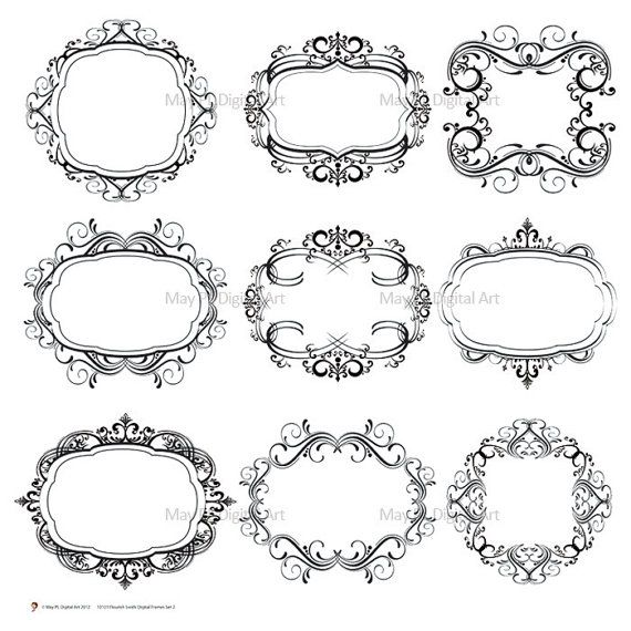 digital scrapbook frames border clipart frame flourish damask vintage classicdesign wedding invitation scrapbook embellishment oval 10101