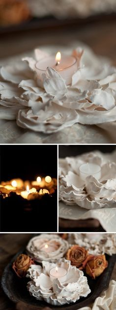 Plaster Dipped Flower Votives - going to experiment with this idea using artificial flowers and my airbrush