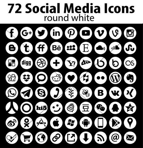 Round Social Media Icons - vector web icon set