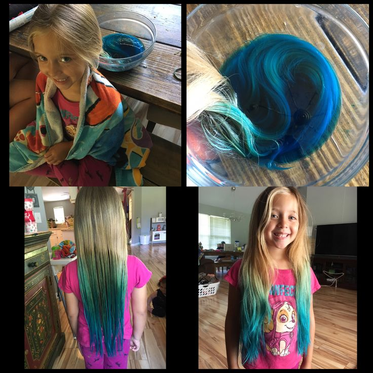 Kool aid hair dye.  Boil 2 cups of water and 4 packets of koolaid.  Let cool while you brush the knots out of your hair. Put the mixture into a bowl and put your hair in and let it sit for 10 minutes. Towel dry hair.