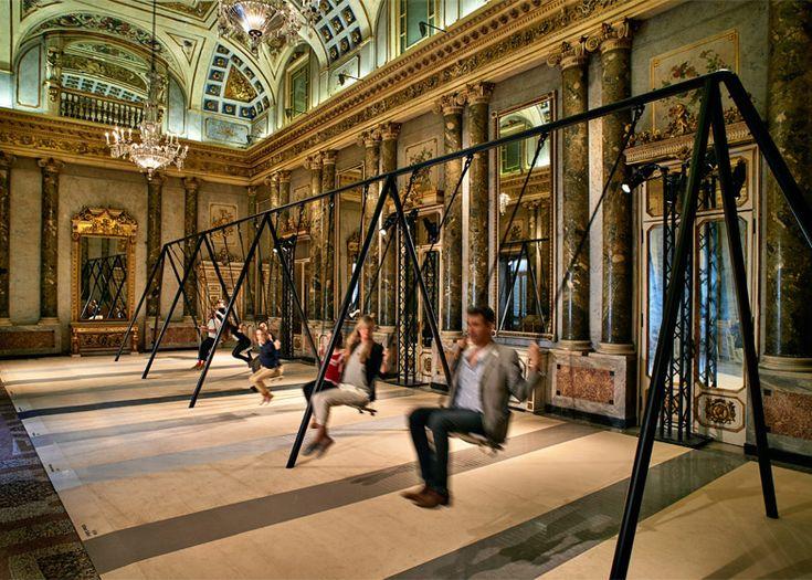 Philippe Malouin installs swing set inside grand Milanese palazzo.