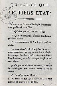What Is the Third Estate? (French: Qu'est-ce que le tiers-état?) is a political pamphlet written by French thinker and clergyman Abbé Emmanuel Joseph Sieyès in January 1789, shortly before the outbreak of the French Revolution. The pamphlet was Sieyès' response to finance minister Jacques Necker's invitation for writers to state how they thought the Estates-General should be organized.
