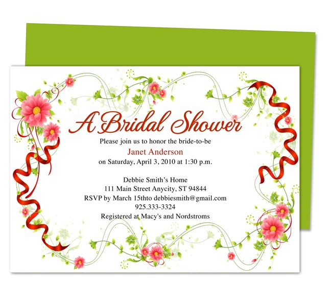 17 Best images about Wedding Bridal Shower Invitation Templates on – Bridal Shower Invitation Templates for Word