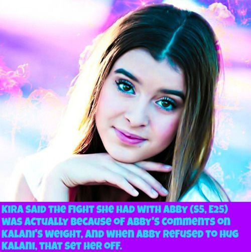 I didn't know that Abby made a comment about her weight. Abby needs to look at herself because Kalani is amazing just the way she is.
