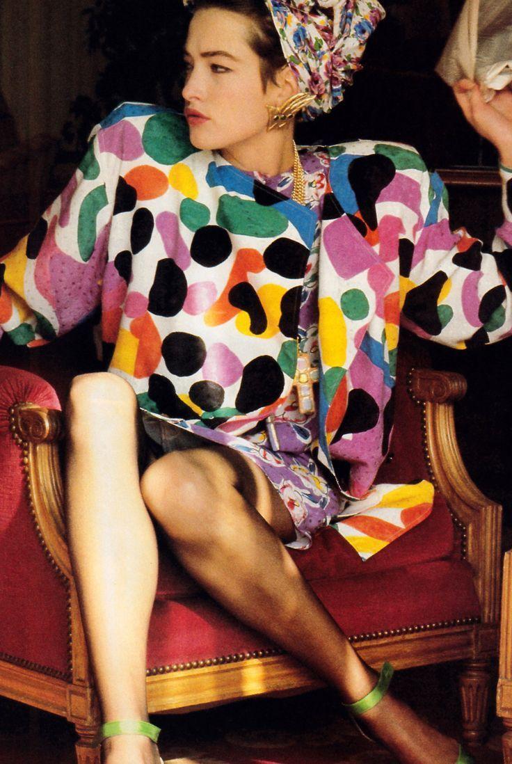 Exceedingly 80's but fun, Denis Piel's photo of Tatiana Patitz wearing Emanuel Ungaro.
