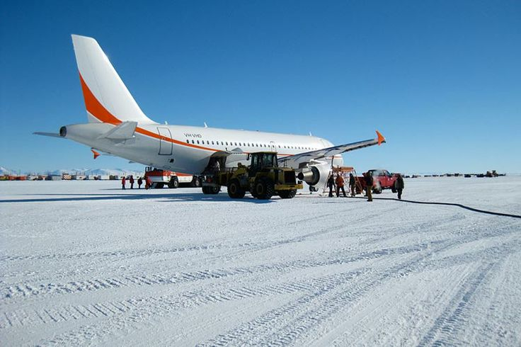 An airport in Antarctica?  Don't try to land your C17 on the Ice Runway at the wrong time of year.   Image from Wikimedia Commons.