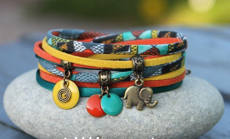 """Bracelet cordon tissu et soie 2 tours """" africa """" jaune vert orange bronze _ breloque elephant et sequin emaillé : Bracelet par lillicrapote"""