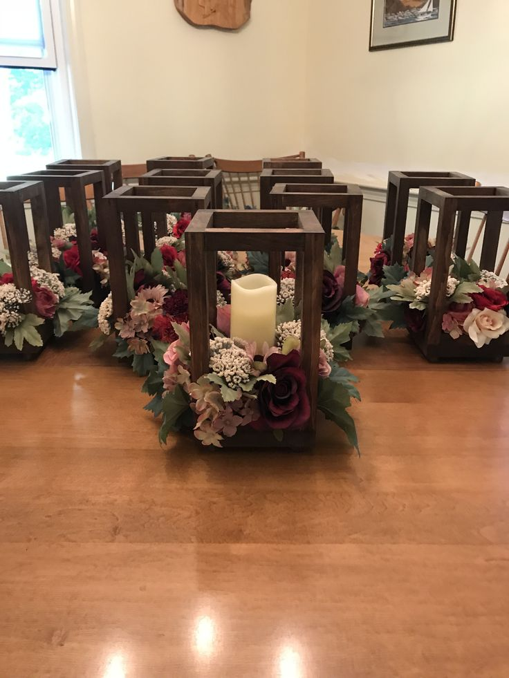 Wooden Lantern Centerpiece With Flameless Candles   Decorations   Size   Only $190.00