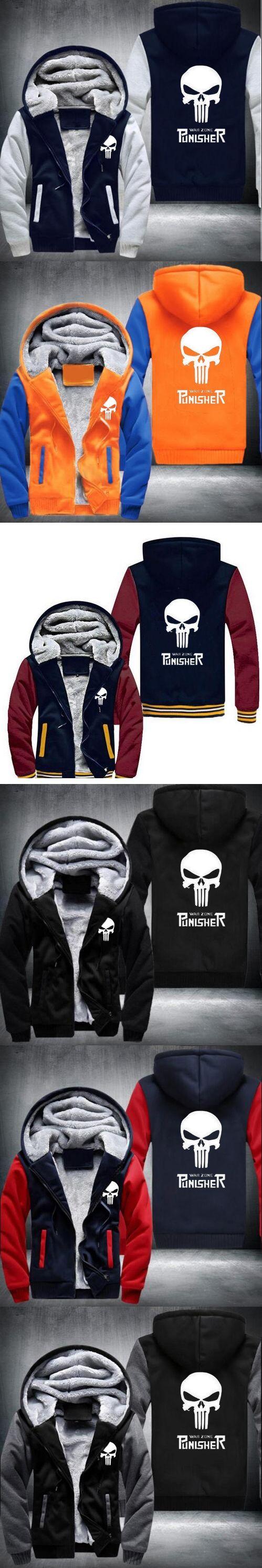 2017 Marvel Punisher Skull Comics Supper Hero Hoodies Men Zipper Coats Anime Hip Hop Streetwear Thicken USA EU size Plus size 2