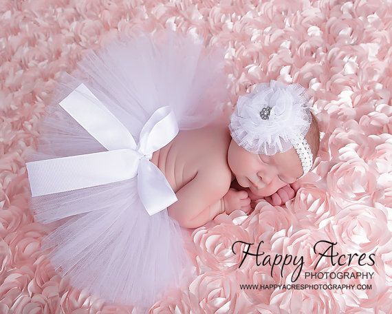 WHITE NEWBORN TUTU with tulle flower headband, size newborn through 2t available, newborn photography prop, birth announcement, 1st birthday on Etsy, $34.95