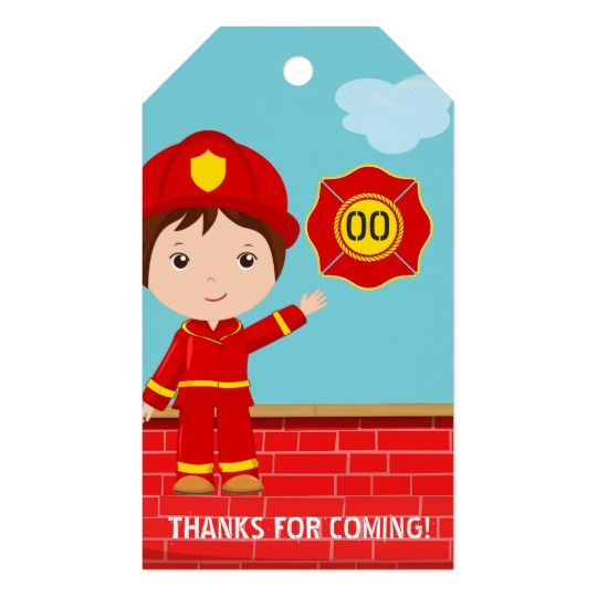 Firefighter themed Birthday Party Guest Favor Gift Tags