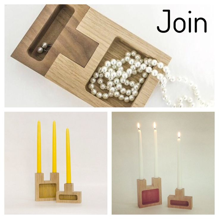 Join: candle holder or small storage. Oak and walnut