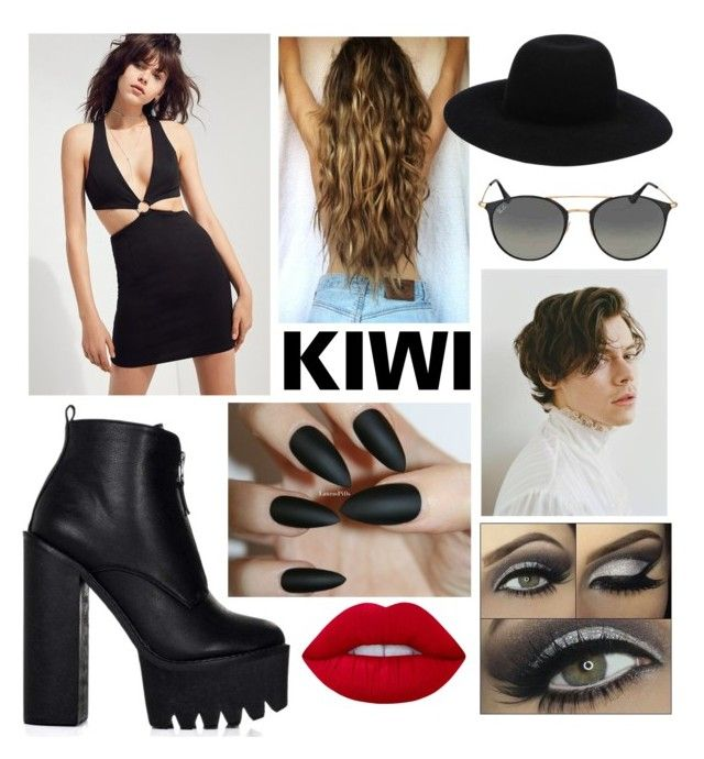 """Kiwi"" by kellimagine ❤ liked on Polyvore featuring Silence + Noise, Off-White, Ray-Ban and Lime Crime"