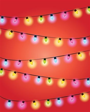 Christmas Light Strands Printed Backdrop