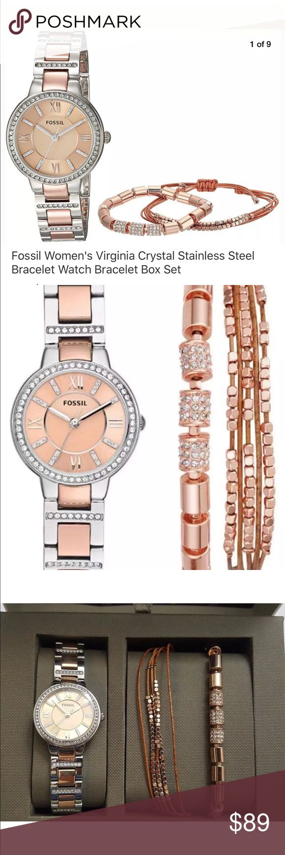 Fossil watch with 2 brackets silver/ rose gold FOSSIL VIRGINIA BOX SET...Silver-tone and rose gold-tone stainless steel bracelet with crystal accents Round case, 30mm, with crystal-set bezel Rose gold-tone dial with crystal markers, silver-tone Roman numerals, three hands and Fossil logo Quartz movement 3 ATM water resistance Round case, 30mm, with crystal-set bezel Rose gold-tone dial with crystal markers, silver-tone Roman numerals, three hands and Fossil logo 2 coordinating rose gold…