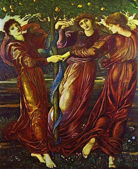 The Garden of Hesperides (Nymphs) 1870-73 by Burne-Jones. Hespérides são as Ninfas guardiãs do Jardim das Hespérides, onde cresciam maçãs de ouro que davam a imortalidade a quem as comesse.