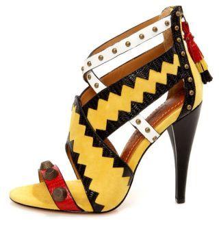 Blonde Ambition Renata Dijon Strappy Studded Sandal