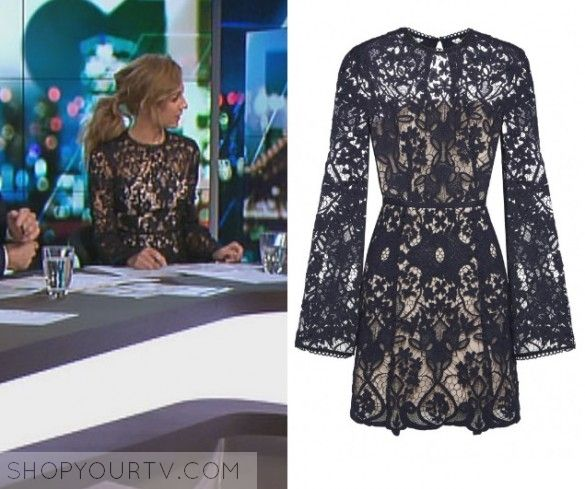 The Project: May 2017 Carrie's Black Lace Dress   Shop Your TV Carrie Bickmore wears this black lace long sleeved flare sleeve lace dress in this episode of The Project on May 10th 2017.  It is the Rodeo Show Trinity Lace Dress.