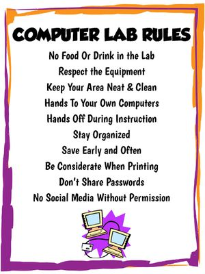 Middle/High School Computer Lab Rules Poster from Miss Kay