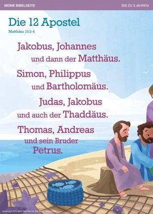 Wie hießen die 12 Apostel? Das steht in Matthäus 10,2-4 und auch in diesem kleinen Gedicht— zum leichten Auswendiglernen.