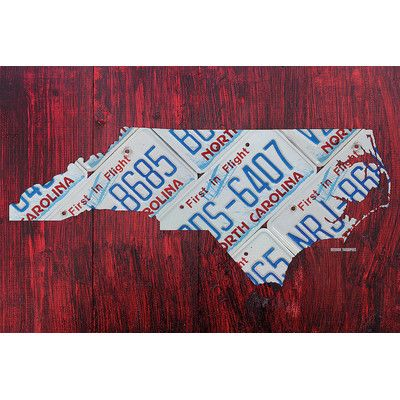 """East Urban Home North Carolina Recycled License Plate State Map Textual Art on Wrapped Canvas Size: 18"""" H x 26"""" W x 1.5"""" D"""