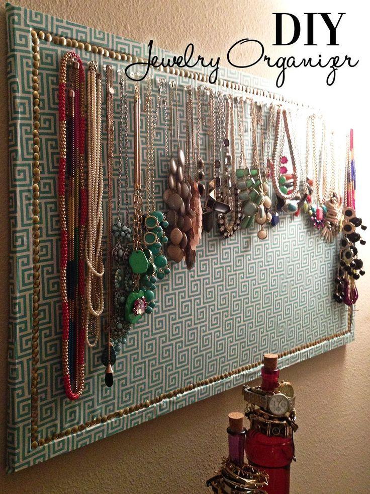 Fabric Covered Corkboard Jewelry Organizer - Cort In Session #jewelryorganizertips