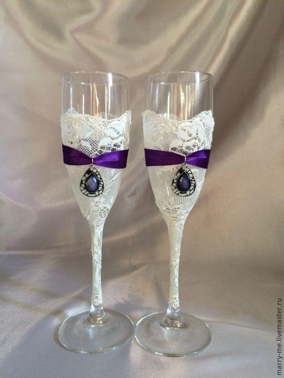 Купить Свадебные бокалы фиолетовый шарм - темно-фиолетовый, фиолетовый, фиолетовая свадьба, фиалки, фиалковый