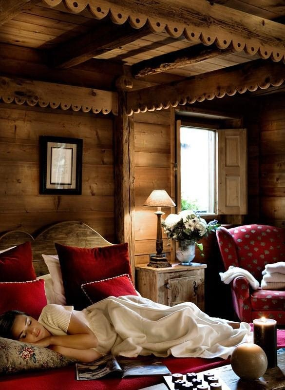 rustic cabin canopy bed cute trim