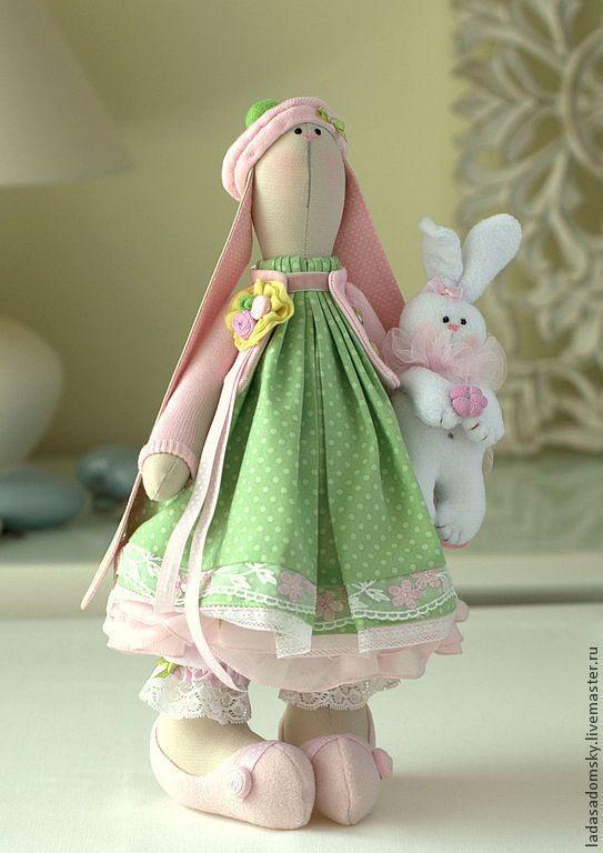 Купить Зайка Rosi - 39 см - зелёный, зайка девочка, зайка игрушка, зайчик