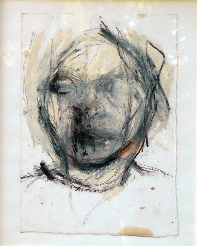 Testa/2000/grafite e olio su carta