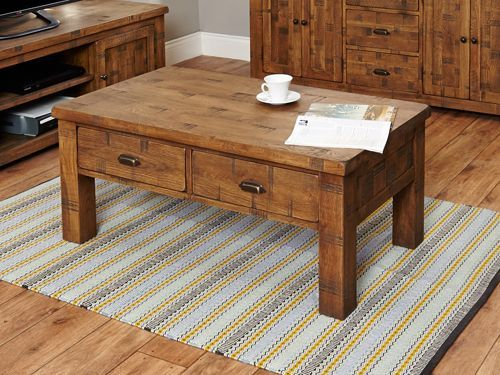 Rough Sawn Oak Four Drawer Coffee Table