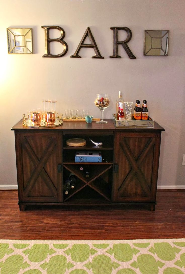 Make an at home bar area world market buffet for How to build a mini bar at home
