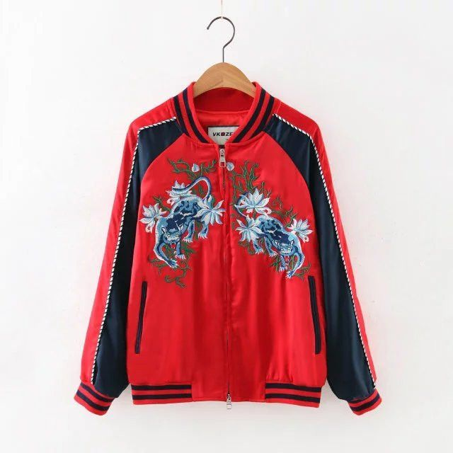 Fashion Embroidery Oriental Flower & Animal Pattern Short Jacket New Women's Bomber Jacket Coat Pilots Outerwear Tops
