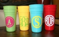 monogrammed plastic cups. need theses asap