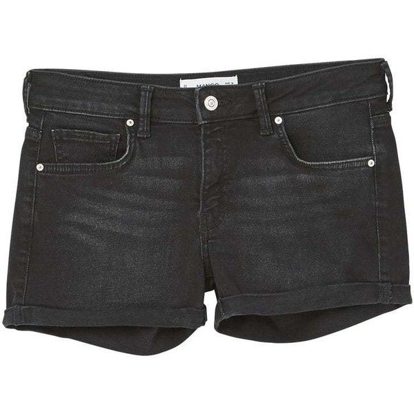 MANGO Black denim shorts ($36) ❤ liked on Polyvore featuring shorts, distressed denim shorts, torn shorts, cuffed shorts, short jean shorts and zipper shorts