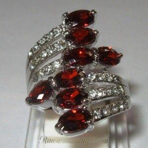 Cincin Gold Filled ring 7US Model Garnet Cz